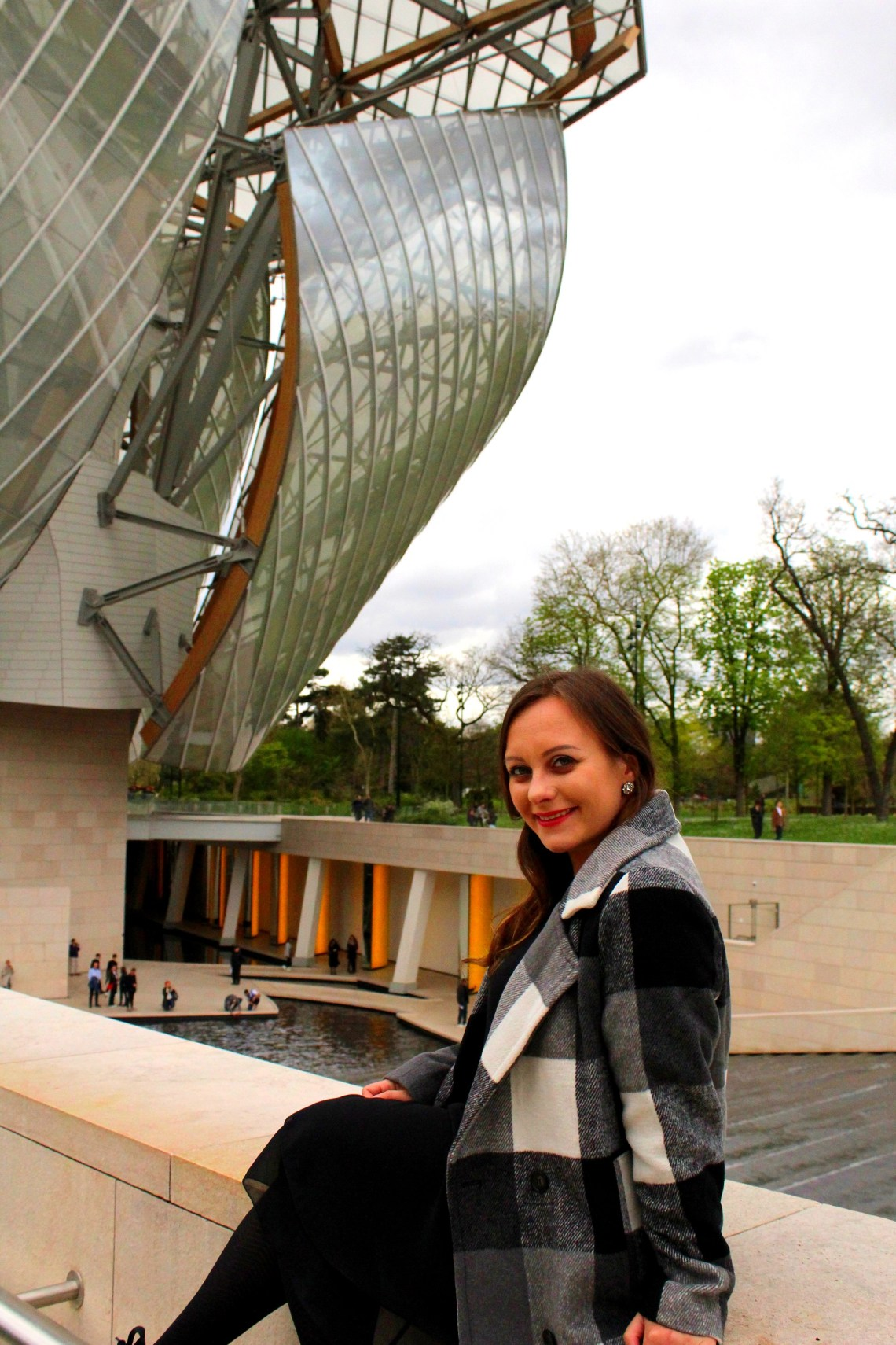 me in front of Louis Vuitton Foundation
