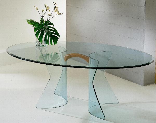 Tavolo in cristallo Tavolo New York Tavolo in cristallo con base curvata e sagomata Il piano