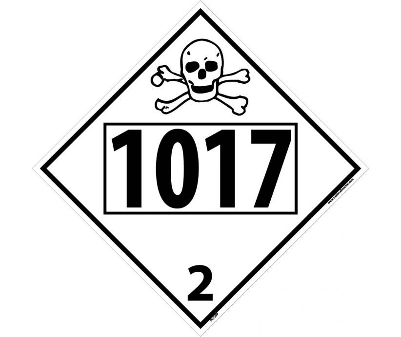 Chlorine Poison / Toxic Gas Permanent 4-Digit Placard (#