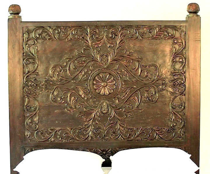 Handcrafted Scroll Headboard Queen Cal King and Stand