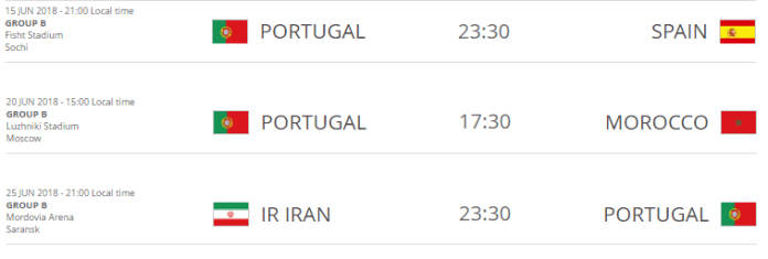 Portugal FIFA World Cup 2018 Schedule
