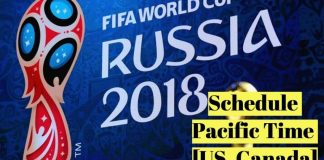 FIFA World Cup 2018 Match Schedule as per PST Pacific Standard Time