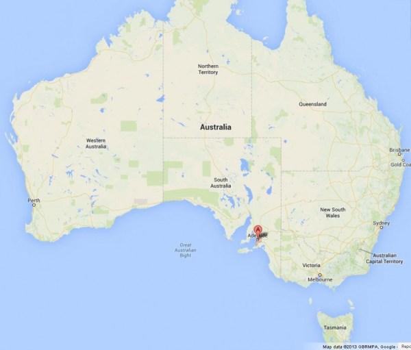 Adelaide on Map of Australia