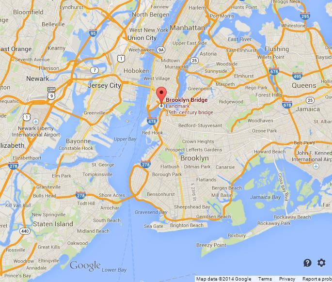 brooklyn bridge on map