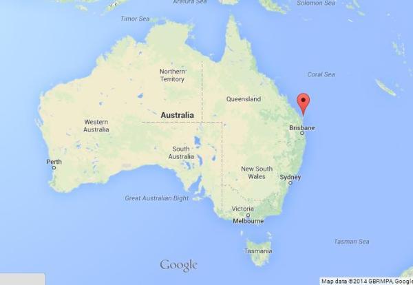 Fraser Island on Map of Australia