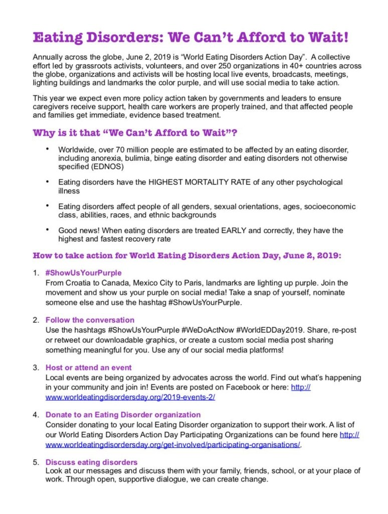 2019 Events – World Eating Disorders Action Day