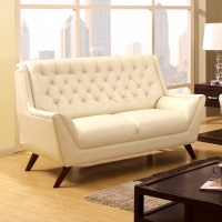 WHITE BONDED LEATHER BUTTON TUFTED LOVE SEAT
