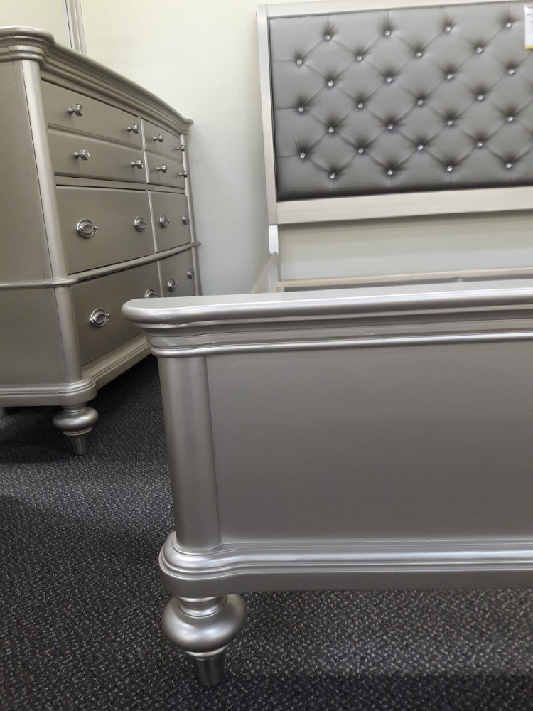 POUNDEX SILVER QUEEN BED FRAME F9317Q