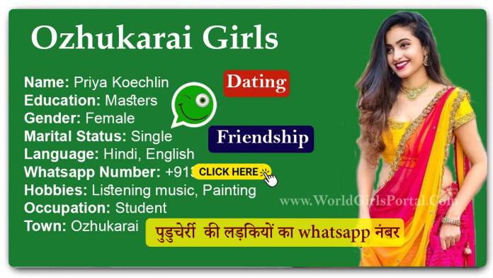 Ozhukarai Girl Priya WhatsApp Number for Friendship, Dating, Make a GF Pondicherry