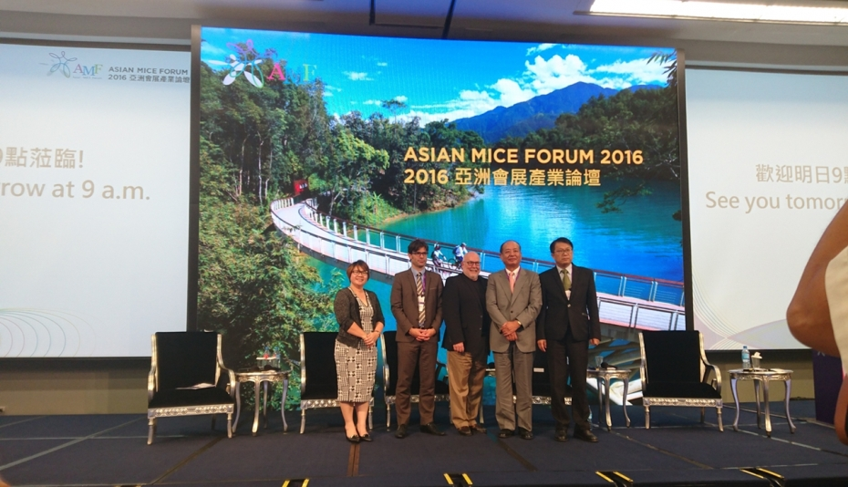 Photo shows Mary Wan Mering with other presenters at Asian MICE Forum.