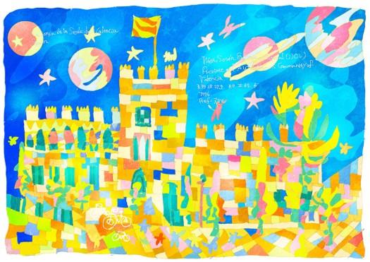 0715_ バレンシアのラ・ロンハ・デ・ラ・ セダ_ スペイン_ La Lonja de la Seda de Valencia_ Spain | 1996年登録の世界遺産の絵 | 松田光一