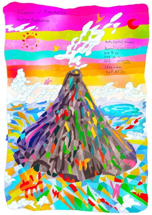 0706_ カムチャツカ火山群_ ロシア連 邦_ Volcanoes of Kamchatka_ Russian Federation | 1996年登録の世界遺産の絵 | 松田光一
