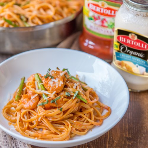 Get Hooked On Shrimp and Asparagus Pasta with Bertolli® Sauces