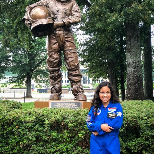 American Girl's 2018 Girl of the Year Luciana Vega's dream is to land on Mars. I'm not sure Reese is aiming for the same goal, but I do know that she's obsessed with all things science and outer space. Because of that, there was one place I knew we HAD TO visit while we were in Alabama….American Girl Space Camp!
