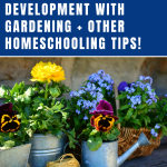 Teaching gardening is the perfect way to enrich your homeschool curriculum. Teaching gardening also ties into teaching math, science, reading, nutrition, life skills, physical fitness, and more. It's a real-world application of so many subjects for homeschoolers. #gardening #gardeningwithkids #gardeningtips #homeschool