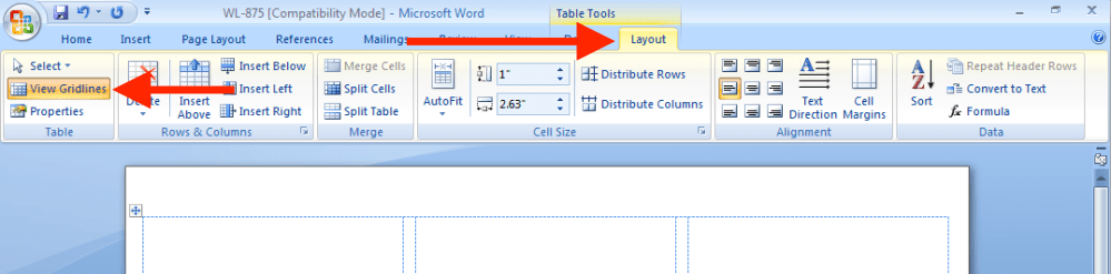medium resolution of before you start download a label template from our downloads page and open it in microsoft word then click layout from the office ribbon and select view