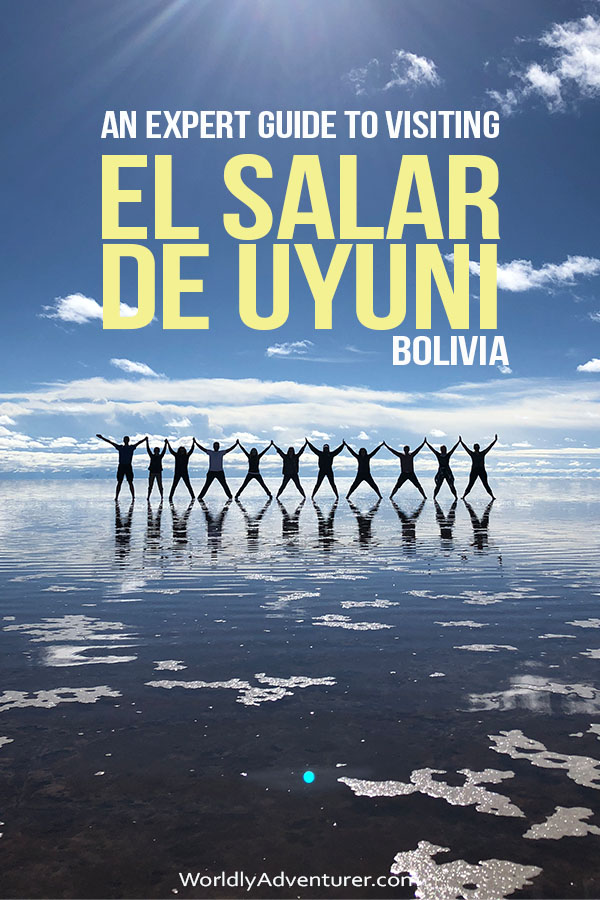Fancy seeing Bolivia's most dramatic landscape? Look no further than these expert tips on visiting the Salar de Uyuni or Bolivian saltflats including how to get there, where to stay and what type of tour to take. #southamerica #bolivia #uyuni #saltflats #travel #boliviatravel #worldlyadventurer