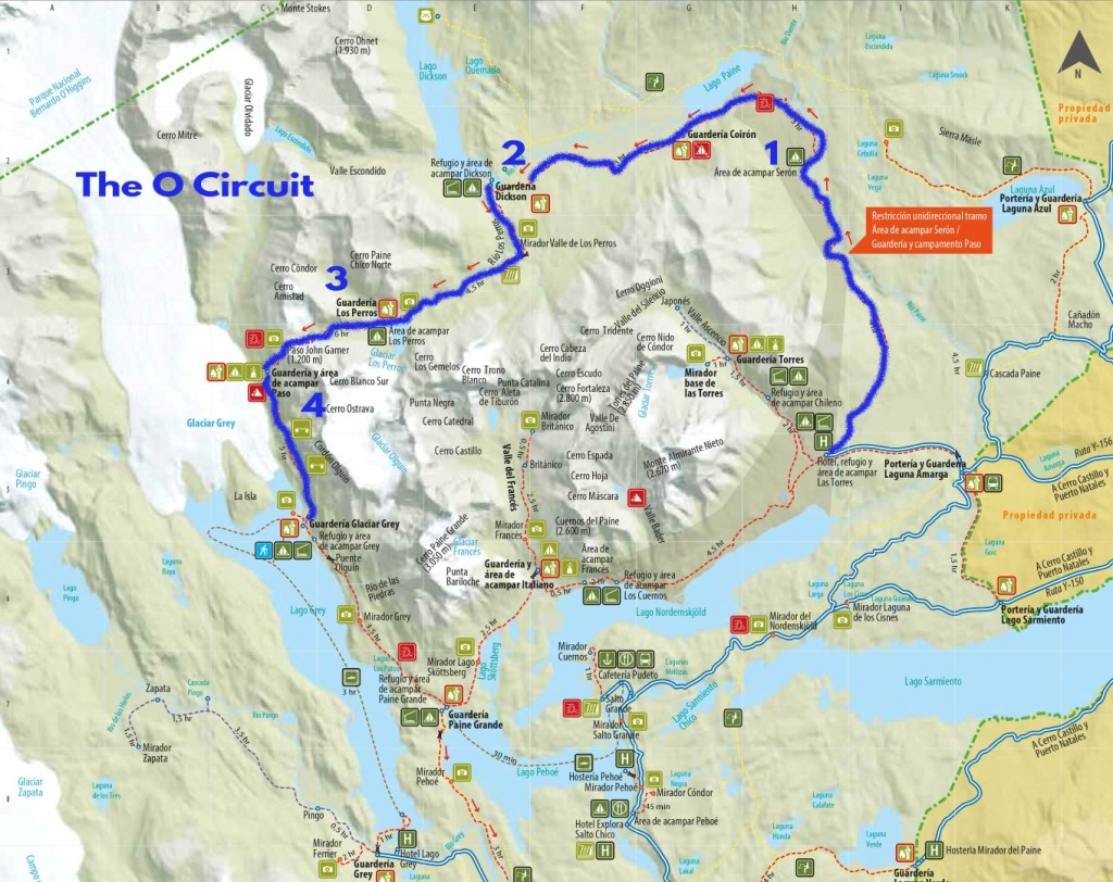 Torres del Paine O circuit Map