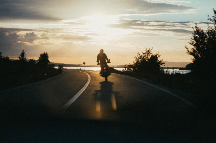 a person riding a motorcycle