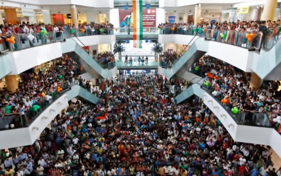 This is a mall in Kolkatta where the finals of the match between India and Sri Lanka is viewed.
