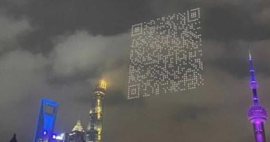 Drones forman gigantesco código QR en el cielo de Shangai