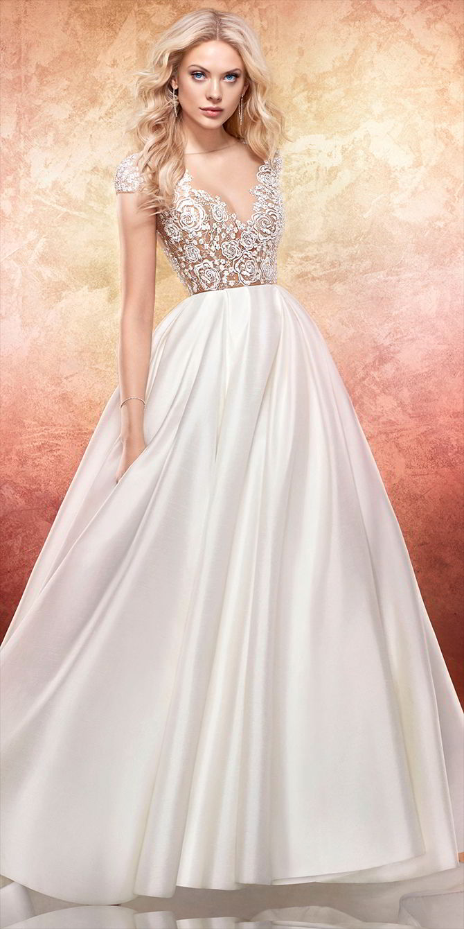 Hayley Paige Spring 2017 Ivory sparkle floral-embroidered bridal ball gown