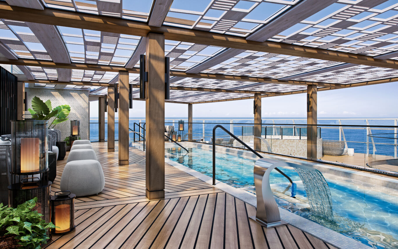 Spa Outdoor Pool with decking area and cover