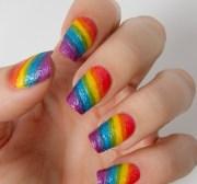 make rainbow nail art design