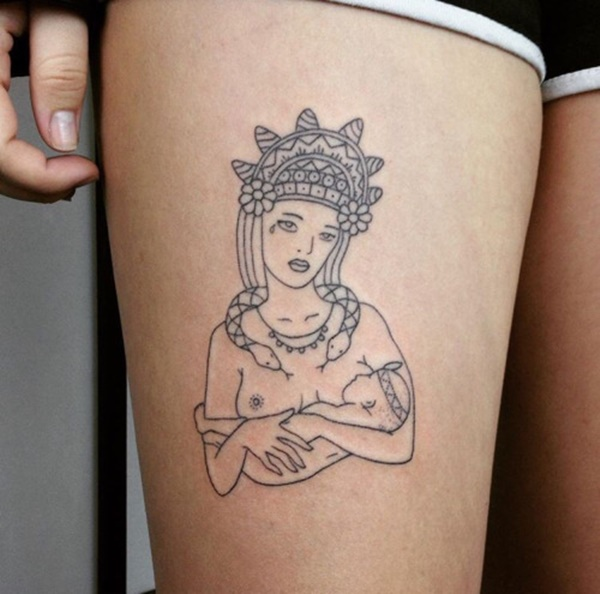 Illusion Tattoo Of Mother And A Child