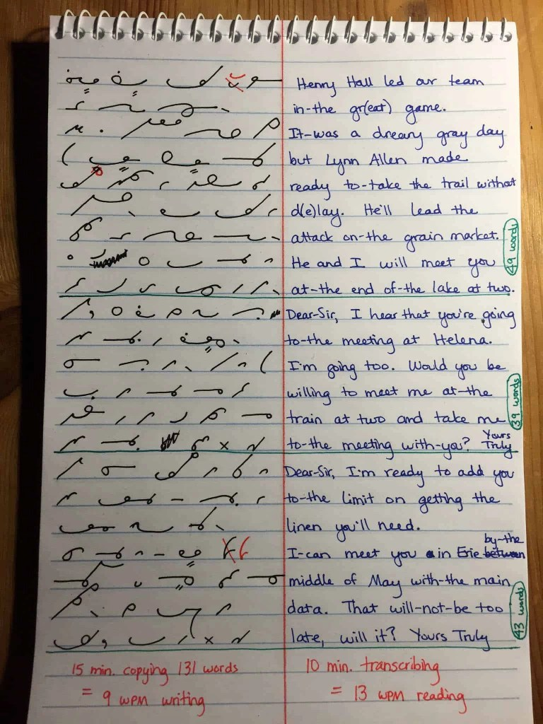 Notebook with Gregg shorthand on the left and plain English on the right predates court reporter machine history
