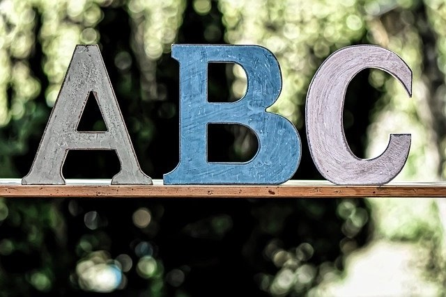 The ABC test represented by the letters ABC on a wooden board with a green background