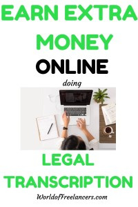 Pinterest image of woman typing on laptop with text earn extra money online doing legal transcription