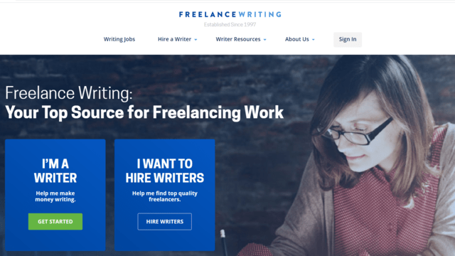 FreelanceWriting.com home page. This job site has a great job board with freelance writing jobs for beginners