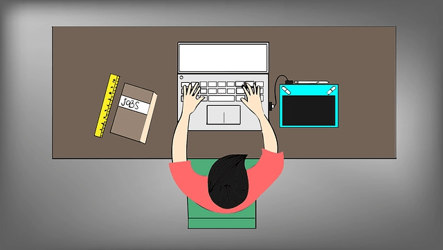 Illustration of overhead view of man working on computer at a desk