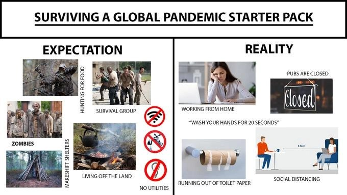 Humorous coronavirus meme collage of several images depicting what our expectations were for a global pandemic and what the reality is