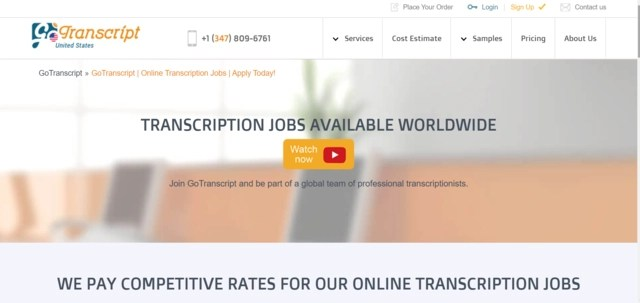Top of home page of Go Transcript website where you can find transcription jobs online