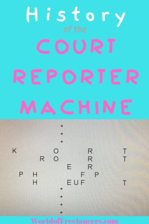 Court repoter machine history written in machine shorthand Pinterest image