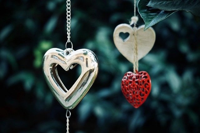 Hanging heart representing love which leads to an increase in productivity