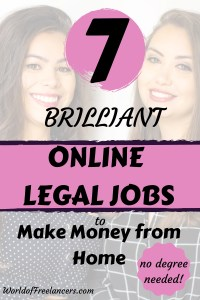 Two women standing and smiling side by side for Pinterest image with pink and black text saying 7 brilliant online legal jobs to make money from home