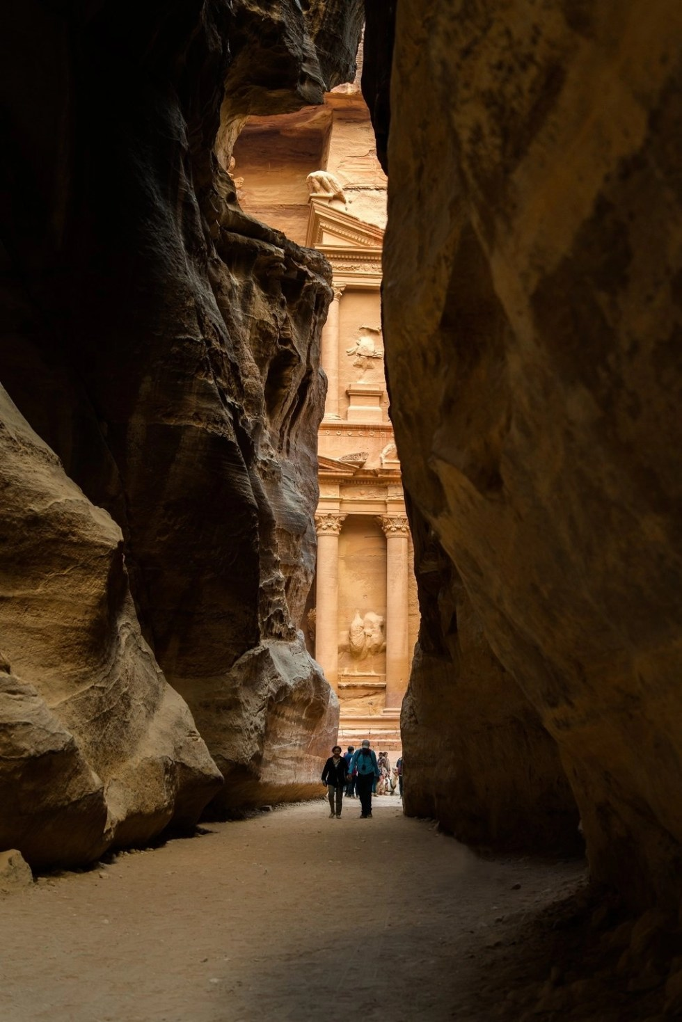 Petra's Treasury as seen through the Siq before ascending the 800 Steps to Petra's Monastery