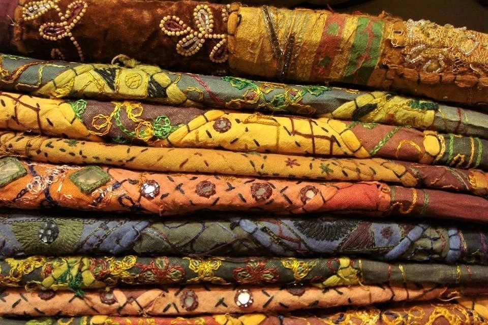 Colorful scarves in the Textile souq, a Middle East marketplace in Dubai