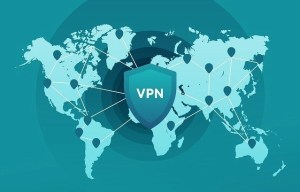Green map of the world with VPN in the middle