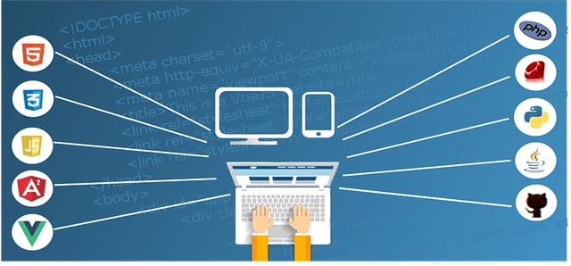Illustration of a pair of hands on a laptop with 10 various icons coming out of it.