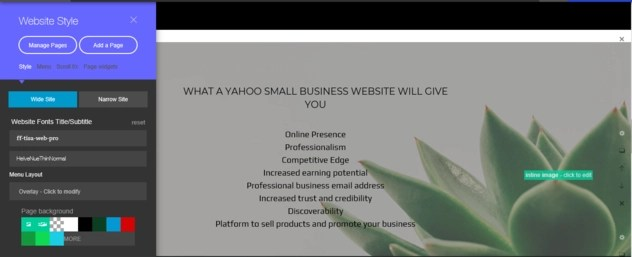 Left gear icon and its settings on Yahoo Small Business Websites builder