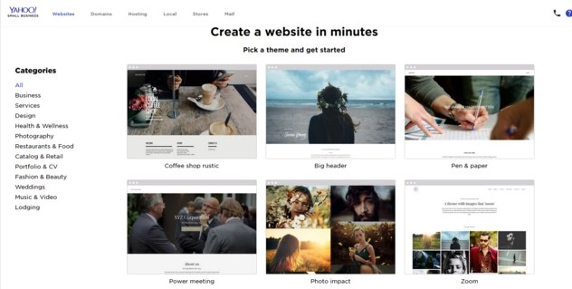 Yahoo Small Business Websites themes