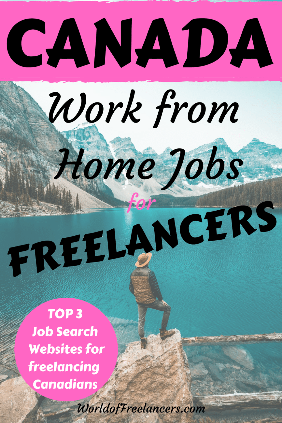 Canadian mountain and water scene with man in hat in foreground for Pinterest with text in pink, black and white saying Canada work from home jobs for freelancers - top 3 job search websites for freelancing Canadians