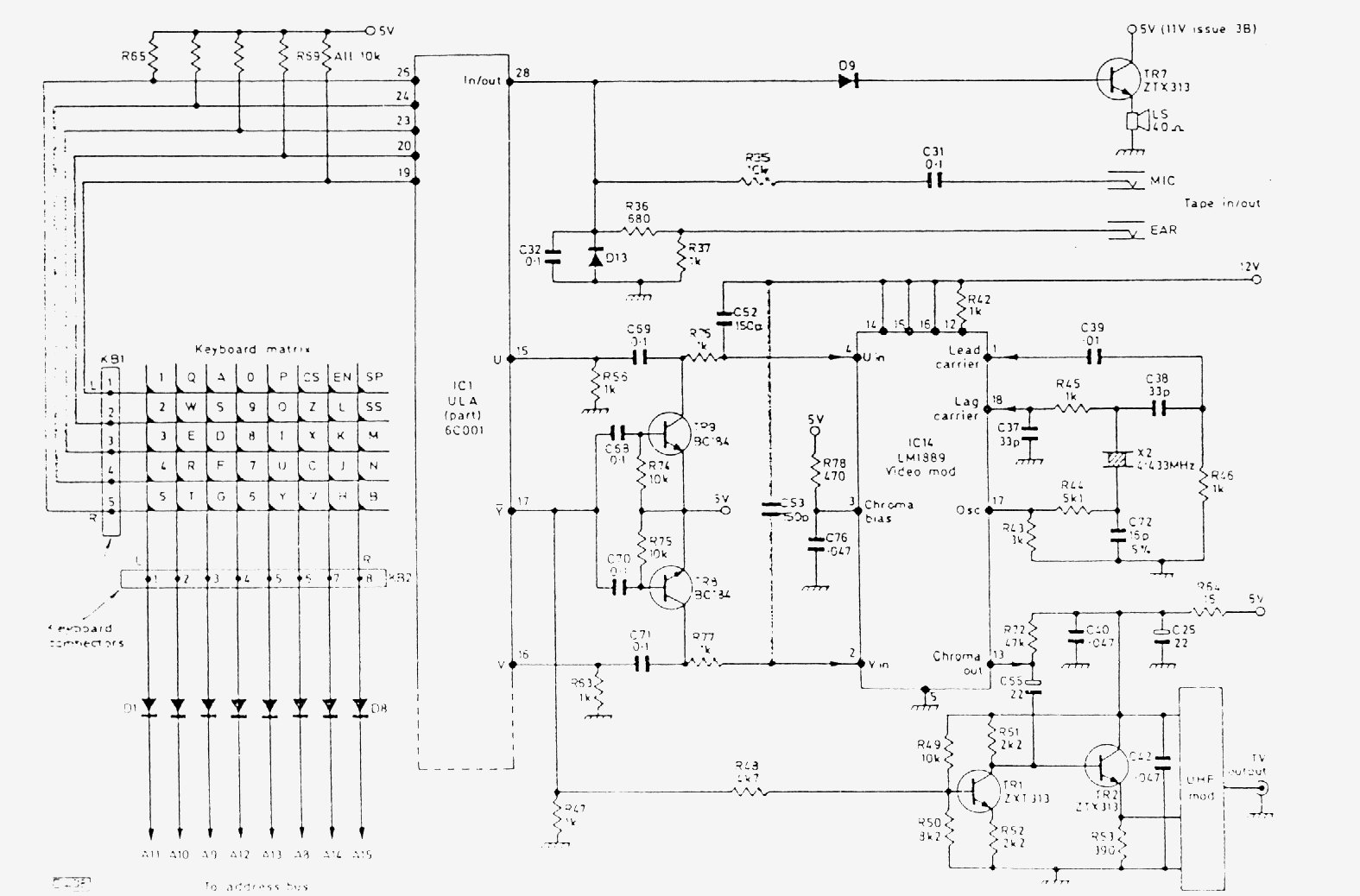 hight resolution of fig5 final part of the spectrum issue 3 circuit diagram showing the keyboard matrix the tape input and output and the video and tv output circuitry