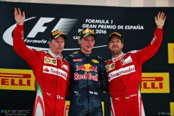 The podium (L to R): Kimi Raikkonen (FIN) Ferrari, second; Max Verstappen (NLD) Red Bull Racing, race winner; Sebastian Vettel (GER) Ferrari, third. 15.05.2016. Formula 1 World Championship, Rd 5, Spanish Grand Prix, Barcelona, Spain, Race Day. - www.xpbimages.com, EMail: requests@xpbimages.com - copy of publication required for printed pictures. Every used picture is fee-liable. © Copyright: Batchelor / XPB Images