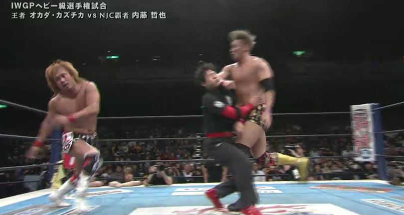 red shoes ko'd by Odaka by accident at NJPW invasion attack 2016