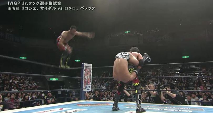 njpw, wrestling, invasion attack, ropongi vice, Ropongi Vice hit their finisher on Ricochet to win the IWGP Jr Tag Championshops